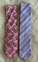 Men's ERMENEGILDO ZEGNA Silk Neck Ties Made in Italy Pink Purple Set of 2
