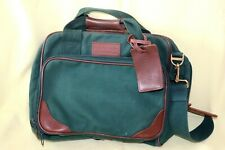 LANDS END Green CANVAS LEATHER Occasional Messenger Laptop Overnight Bag