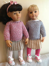 "Dolls Fashion clothes knitting  pattern to fit 18"" doll. VERY EASY KNIT. KNM 69"
