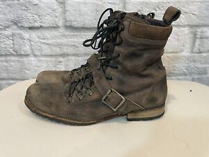 All Saints Mens Brown Suede Leather Combat Moto Lace-Up Boots Sz 44/US 11