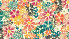 Makower Sun dance Large floral,ivory, 100% cotton fabric, fat quarter, free p&p,