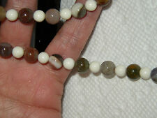 VINTAGE Glass Multi Color & White Bead Strand Necklace 22 Inches