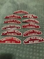 Boy Scouts - Lot Of 11 RARE red and white shoulder patchS