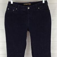 St. John's Bay Petite Womens Size 6P Stretch Navy Blue Bootcut Corduroy Jeans