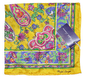 Ralph Lauren Purple Label Mens Made In Italy 100% Silk Pocket Square New