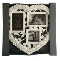 Blanc Bouton Style Forme Coeur 3 IN 1 Cadre Photo Image Photographie Cadres
