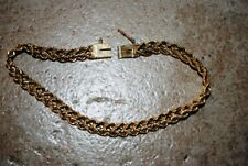 "Vtg 7.5"" Double Braided Rope 14K Yellow Gold HMS Bracelet 11.2 grams Box Clasp"