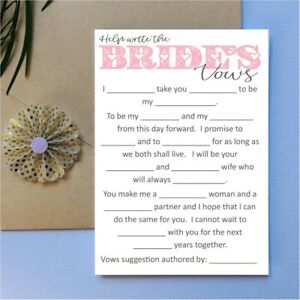 Help write the Brides Vows - Bridal Shower Hens Night Game Party Fun bride to be