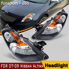 2x Headlight Housing Clear Lens Amber Reflector for 2007 2008 2009 Nissan Altima