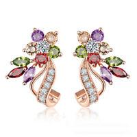 18K Rose Gold Plated Multi-color Zircon Women Earrings Fashion Jewelry Wedding