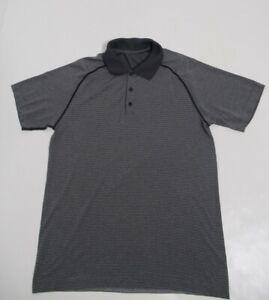 Lululemon Men's Metal Vent Tech Polo Black / White (Striped) Size M Stretch
