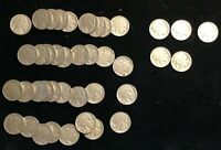 1936 40 Coins Buffalo Nickels Bulk Lot Roll Very Good to Very Fine 35 P 3 SF 2 D