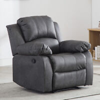 Oversize Manual Recliner Leather Chair Reclining Lounge Sofa Wide Padded Seat