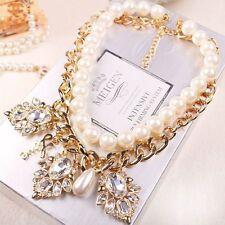 Fashion Jewelry Chain Statement Pendant Crystal Chunky Bib Pearl Necklace