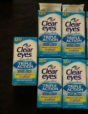 5PK Clear Eyes Triple Action Relief Lubricant Eye Drops .50oz/15ml