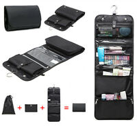 Mens Black Foldable Toiletry Garment Bag Travel Hanging Hook Wash Kit 3 in 1
