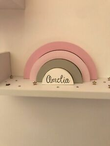 Personalised Wooden Stacking Rainbow Children's Nursery Bedroom Decor Shelfie