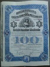 Mexico-Banco Hipotecario de Crédito Territorial mexicano sa, 1914 (1 accion)