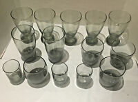 VINTAGE Libbey Smokey Charcoal GRAY PilsnersTumblers and Juice Glasses Set of 14