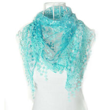 Womens Ladies Lace Tassel Sheer Metallic Burnt-out Floral Scarf Shawl