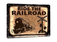 TRAIN locomotive vintage style metal SIGN boys MANCAVE game room wall decor 087