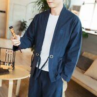 Embroidery Casual Japanese Men Kimono Coat Jacket Cardigan Outerwear Top Retro