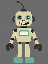 CHILD KIDS GREEN YELLOW RETRO ROBOT FUN POSTER ART PRINT VE033A