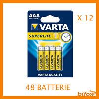 48 Ministilo Varta 48 Batterie Pile AAA R03 Ultra 12 Confezioni Mini Stilo 1.5 V