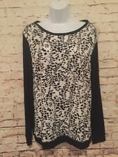 Coldwater Creek Women's Long Sleeve Blouse  Black White Floral Size Large