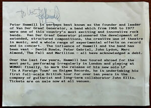 Peter Hammill Signed 1988 A5 Speakout In A Foreign Town Tour Flyer