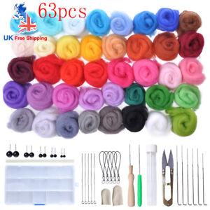 63PC Wool Felt Needles Tool Set Needle Felting Mat Starter DIY Craft Kit Gift UK