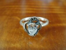 925 Ring Size 5 1/2 Cubic Zirconia with Marcasites Sterling Silver