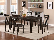 9-PC SET DINETTE DINING ROOM SET TABLE w/ 8 PLAIN WOOD SEAT CHAIRS IN CAPPUCCINO