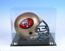 Football Helmet Display Case Black Base Gold Risers  NFL NCAA 100% UV