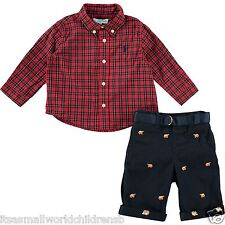 Ralph LAUREN Bebé Niño Rojo a Cuadros Camisa Tambor Bordado Pantalones Set 9/12M BNWT