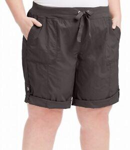 Calvin Klein Womens Shorts Gray Size 1X Plus Performance Convertible-Hem $59 585