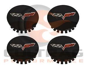 2008-2013 C6 Corvette Genuine GM Gloss Black Center Caps Set Of 4 20940125
