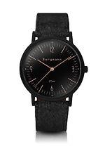 Original Bergmann Cor Uhr schwarz schwarzes Wildlederband schwarzes Gehäuse