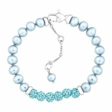 Crystaluxe Girl's Blue Freshwater Pearl Bracelet Swarovski Crystals Sterlin Silv