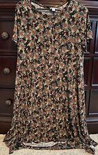 Women's Sz Medium Lularoe Black Floral Carly Dress*Slinky Material*