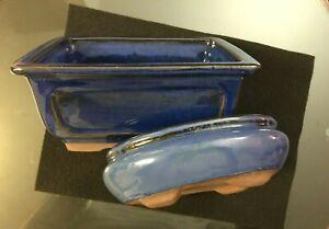 """Dark Blue Glazed Bonsai Pot Ceramic Rect. Planter 7 1/2""""X 6"""" & OVAL 7""""x 5 1/2"""""""