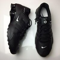 Nike Shox NZ EU Black White Leather Running Shoes Mens Size 9.5 NEW