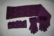 Girls Purple Pearl 3 Pc Set Crown Headband Fleece Back Scarf Fur Trim Gloves