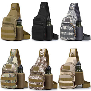 Men's Tactical Sling Bag Military Chest Shoulder Molle Small Daypack Backpack