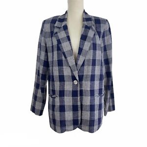 Vintage Requirements Linen Blend Plaid Boyfriend Blazer Navy/White Size 12P