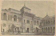 A3578 Siviglia - Palazzo dell'Alcazar - Incisione - Stampa Antica del 1890