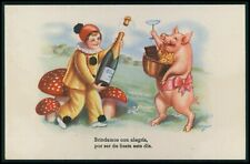 art Szolt Pig and pierror Champahne wine original old c1940s postcard