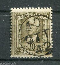 ITALIE - Timbres FISCAUX, MARCA DA BOLLO 30 CENT EFFIGIE, oblitéré TAX, VF stamp