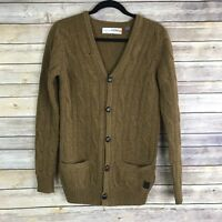 Plectrum By Ben Sherman Mens XS Brown Long Sleeve Lambswool Sweater Cardigan