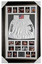 MIKE TYSON & EVANDER HOLYFIELD SIGNED BOXING TRUNKS